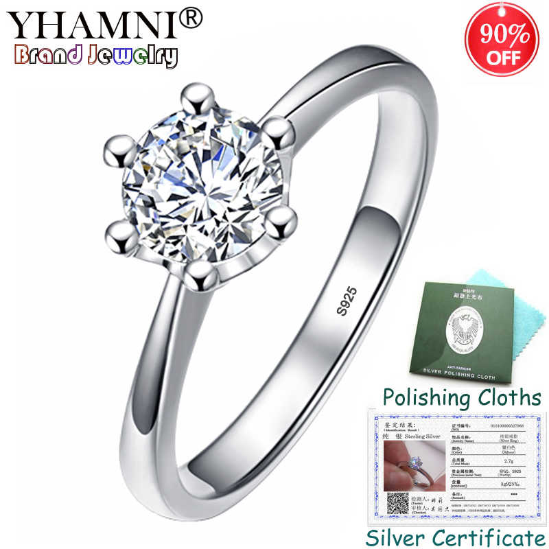 90% OFF! Sent Certificate Original 925 Silver Solitaire Rings for Women 1 Carat Diamant CZ Engagement Wedding Ring Gift ZSAR040
