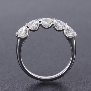Image 3 - Transgems 1,25 карат CTW 4 мм F цвет сплошной 14K 585 Белое Золото Половина Вечности свадебный браслет Муассанит бриллиант свадебный браслет