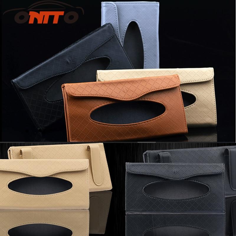 Hot selling 1pcs Litchi grain tissue box auto paper towel bag boxed Sun Visor Type car styling
