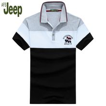 2017 Brand AFS JEEP spring new polo shirt men striped stitching short sleeves fashion turn-down casual polo shirt men 50