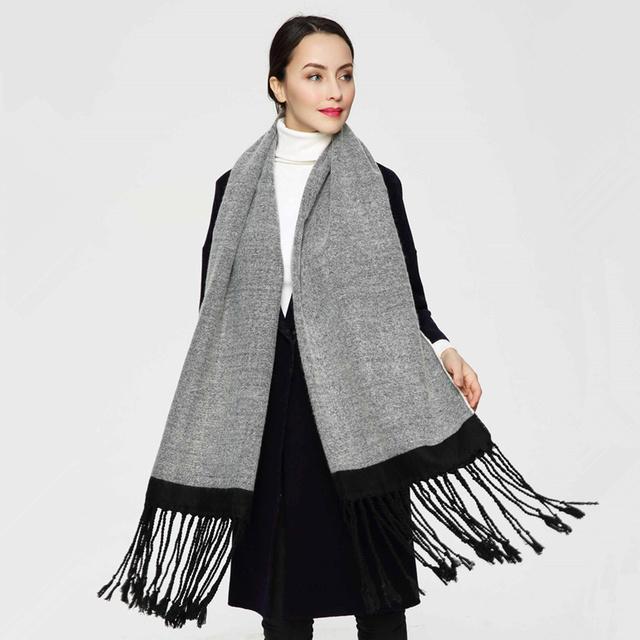 2016 Nova Luxo Mulheres Inverno Cachecol Cachecol Feminino Lenço De Algodão Sólidos Melhor Qualidade Pashmina Borlas Longas Mulheres Wraps PJ035