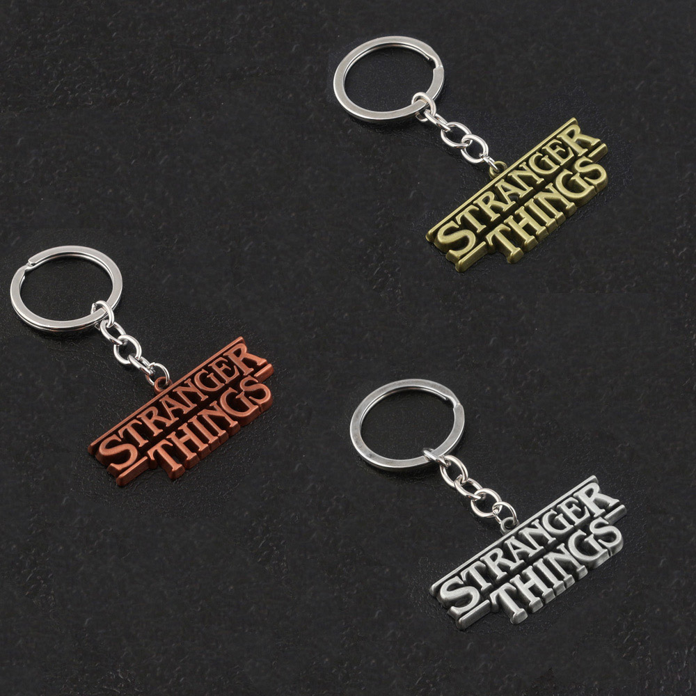 Movie Stranger Things Letter Keychains High Quality Metal Keyring Men Car Women Bag Accessories