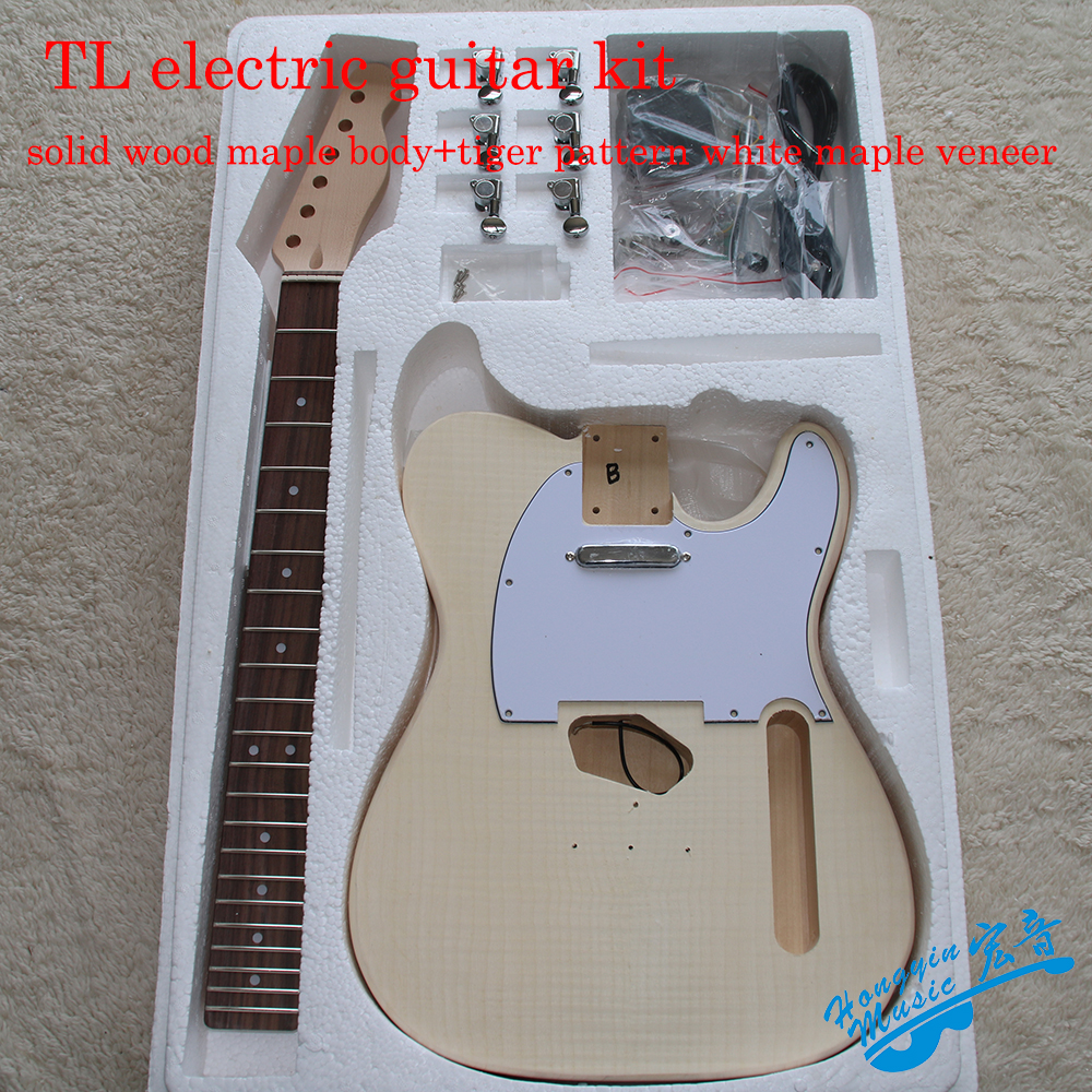 TL Style Electric Guitar DIY Kit Tiger Pattern Veneer A Grade Basswood Body Hard Maple Neck Rosewood Fingerboard Materials Set white tiger pattern 3a grade maple veneer lp style electric guitar diy kit african mahogany okoume body neck rosewood fretboard