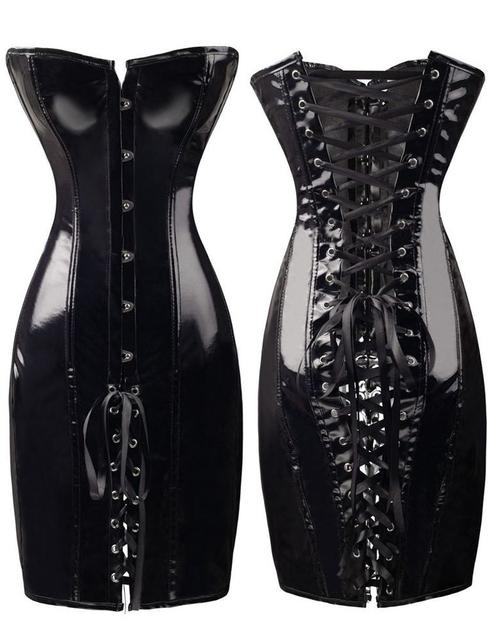 Negro rojo de cuero de la PU mujeres Sexy corsés y Bustiers Push Up gótica larga del cuerpo del corsé Shapers Clubwear S-XXL para mujeres