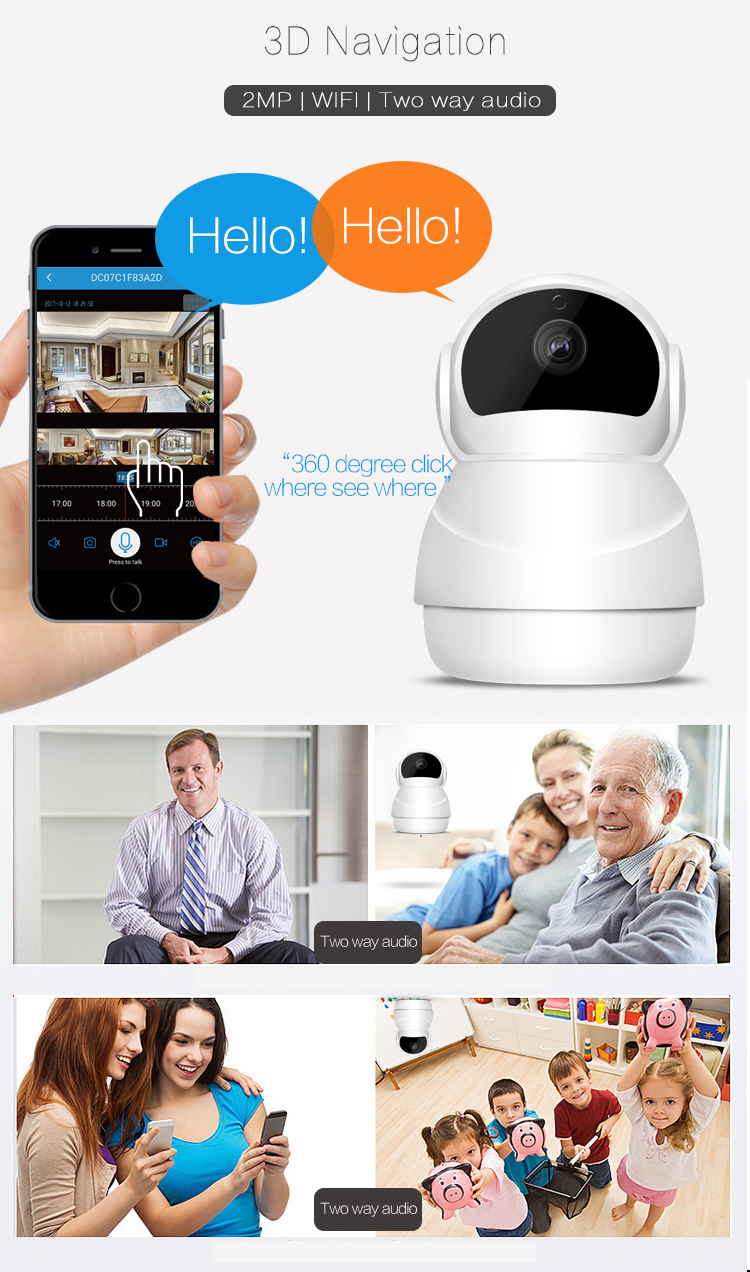 SUCAM 2MP Wifi IP Camera PTZ Mobile View Control Two Way Audio Support 128G 3D Navigation Wireless 1080P Infrared Night Vision 7