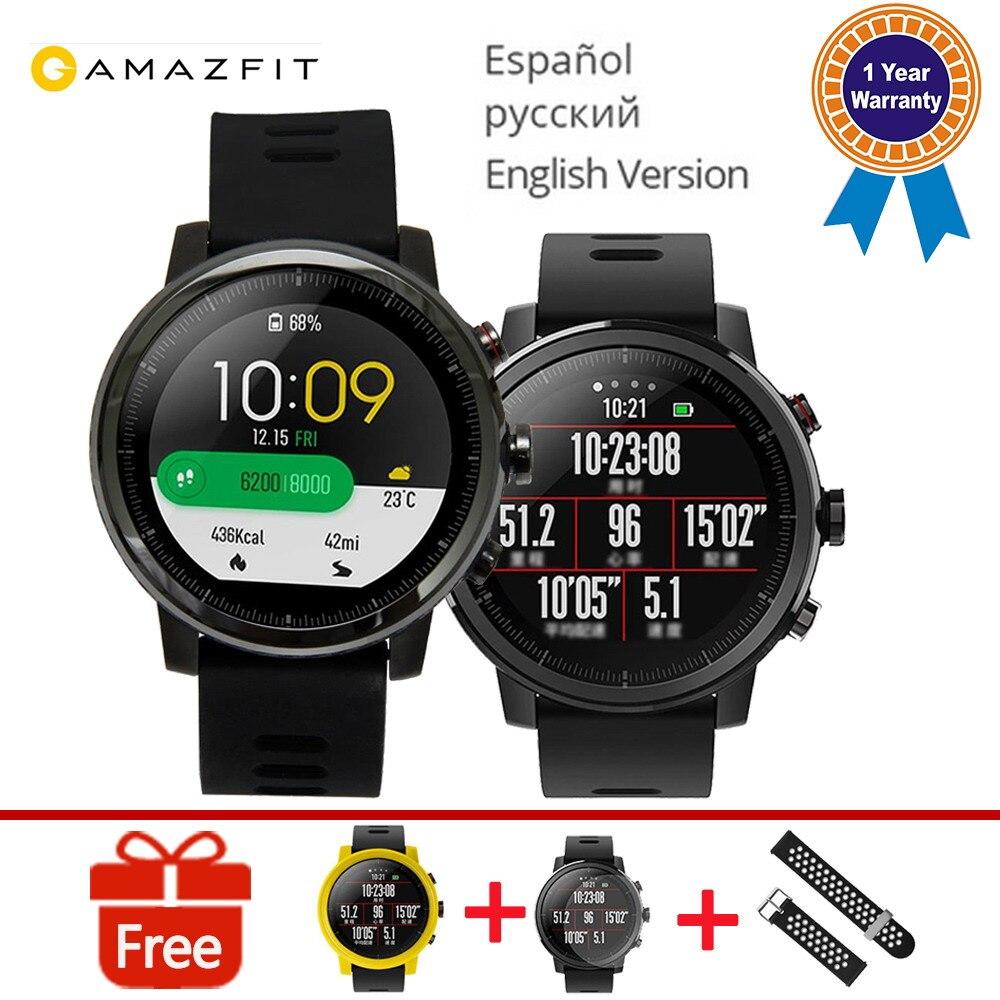 Оригинальный Xiaomi HUAMI AMAZFIT гарантия 1 год трекер активности спортивные умные часы 2 версии 1,34 ''экран 5ATM воды gps Просмотрам