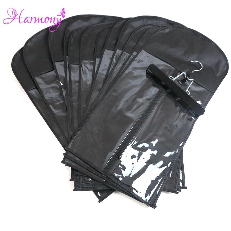 15Pcs (가방 앤 행거) 블랙 컬러 지퍼 걸이 헤어 익스텐션