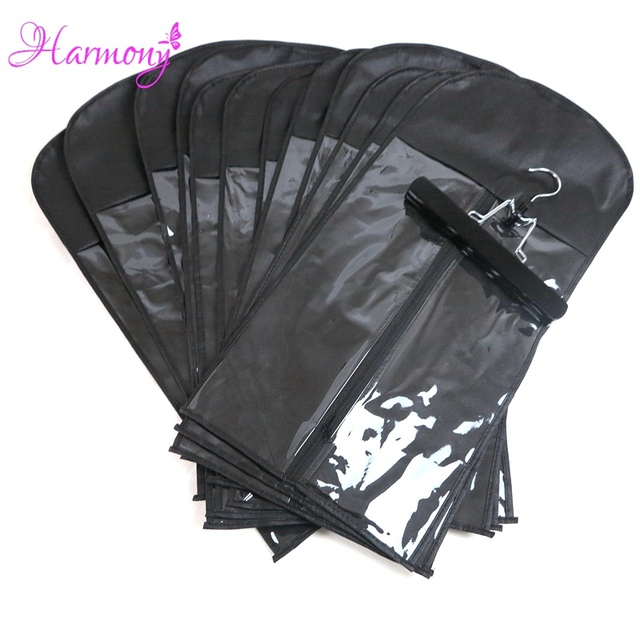 15pcs(bag-and-hanger-)black-color-black-zipper-hanger-hair-extension-packing-suit-case-bags-hair-packaging-for-hair-weft- by ali-express
