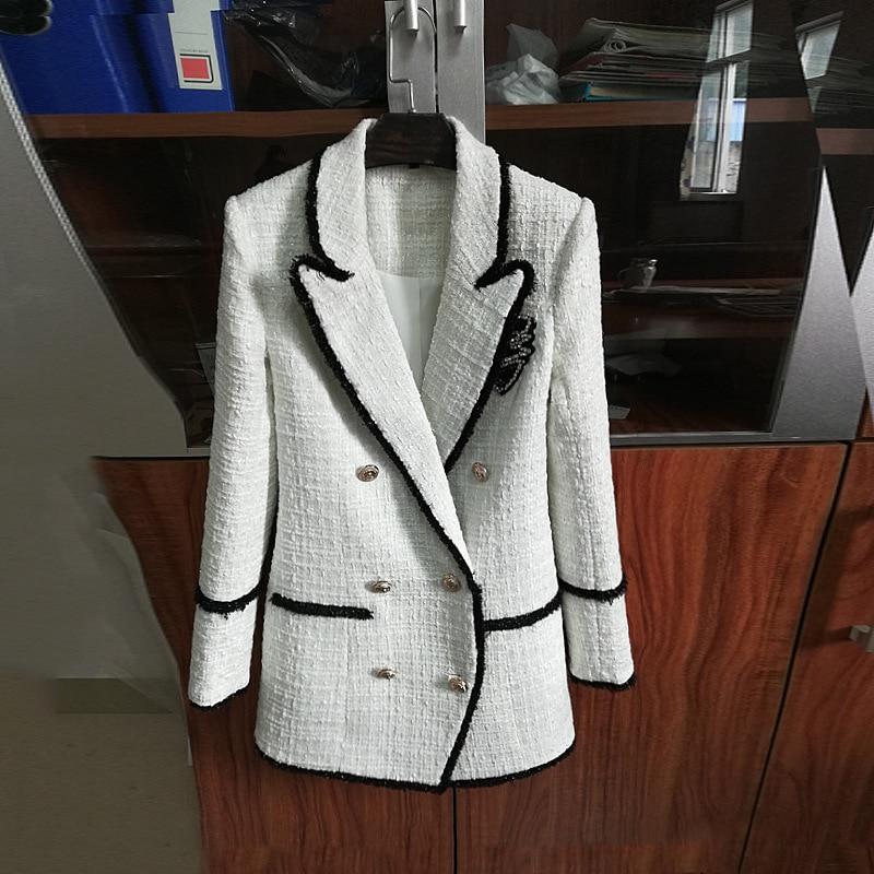 Autumn Winter 2019 Women's Jacket Rhinestone Badge Double Breasted Tweed Casual Blazers Black White Color Block Coats Jc2731