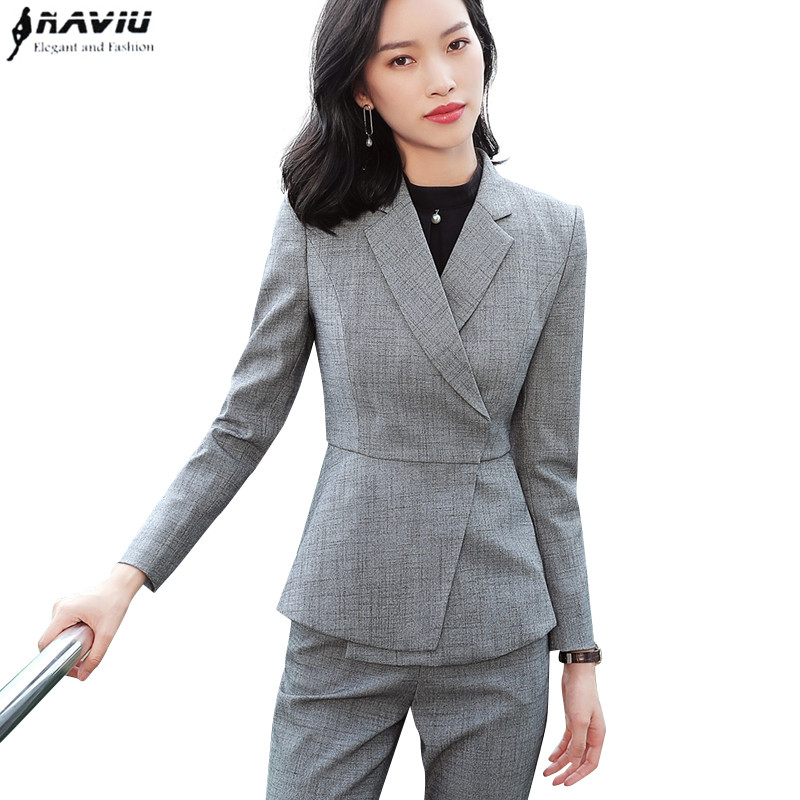 New fashion white skirt suits set women Business slim long sleeve blazer with skirt office ladies