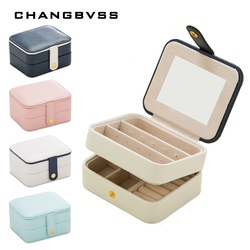 White Blue PU Leather Jewelry Box,Multilayer Ring Earrings Storage Boxes,Jewelry Storage Box,Cosmetic Lipstick Organizer Case