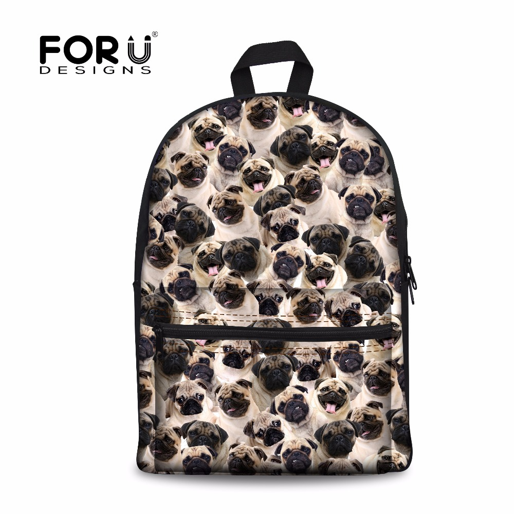 FORUDESIGNS Fashion Women Canvas Backpack Funny 3D Pug Dog Print Puzzle School Backpacks for Ladies Casual Kids Bagpack Rucksack