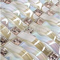 Переливающийся тканые волна Арка Мозаика Кристалл художественного стекла мозаика кухня щитка плитка A4CL170