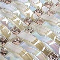 Iridescent Woven wave mosaic arch mosaic crystal glass art mosaic tile kitchen backsplash tile A4CL170