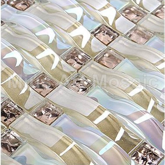 Фото Iridescent Woven wave mosaic arch mosaic crystal glass art mosaic tile  kitchen backsplash  tile  A4CL170
