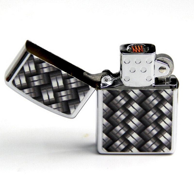 Windproof USB Rechargeable Electronic Matel Cigarette Lighter Black and white squares