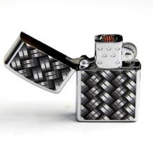 Windproof USBแบบชาร์จไฟอิเล็กทรอนิกส์Matelไฟแช็กสี่เหลี่ยมสีดำและสีขาว