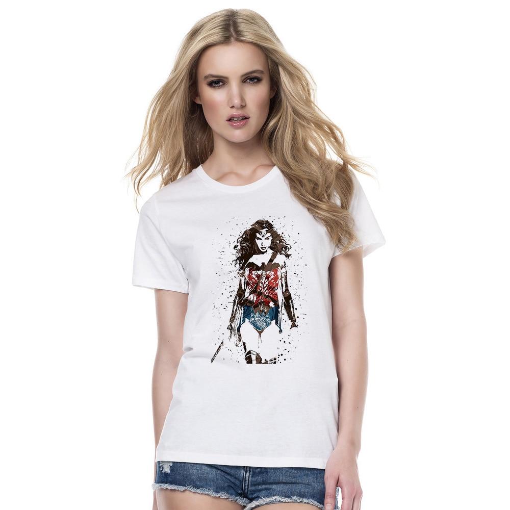New 2018 Fashion T Shirt Women Wonder Woman Superman Movie O-Neck Printed T-shirts Summer Girls Short Sleeve Tee Shirts