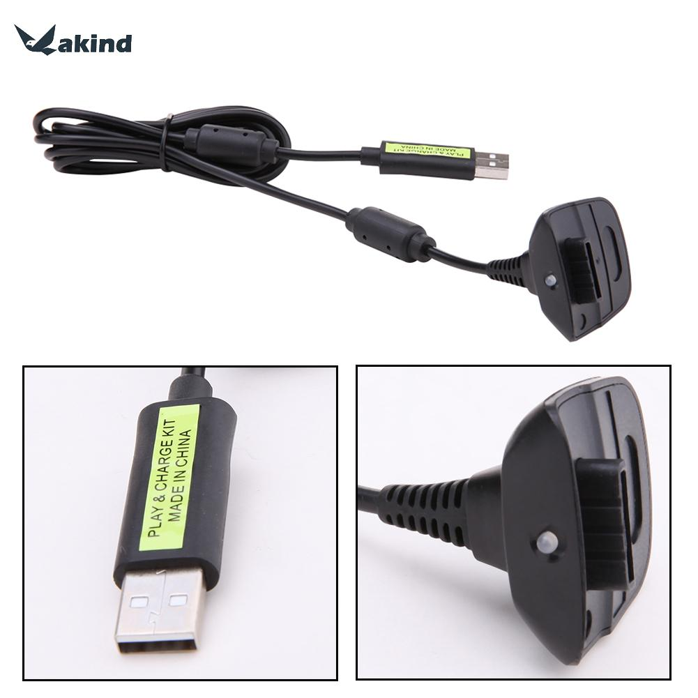 1.8M Wireless Controller Charger Charging Cable Black USB Charge Cord Lead Kit for Xbox 360 Play and Charge Cable