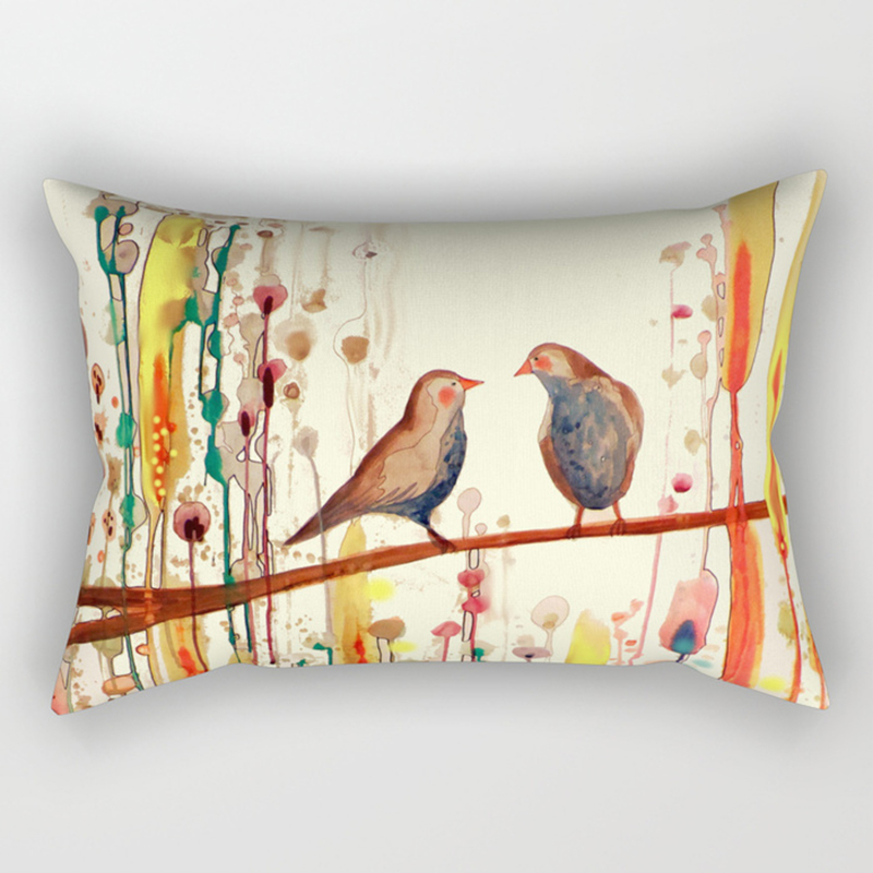 Hot sale color birds pattern pillow case rectangle bedroom pillow cases boys girls men women travel pillow cover 50 30cm in Pillow Case from Home Garden