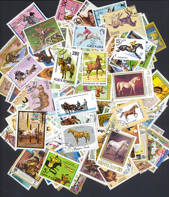 Horse ,100 pieces/lot All From The World Wide Unused With Post Mark Postage Stamps For Collecting