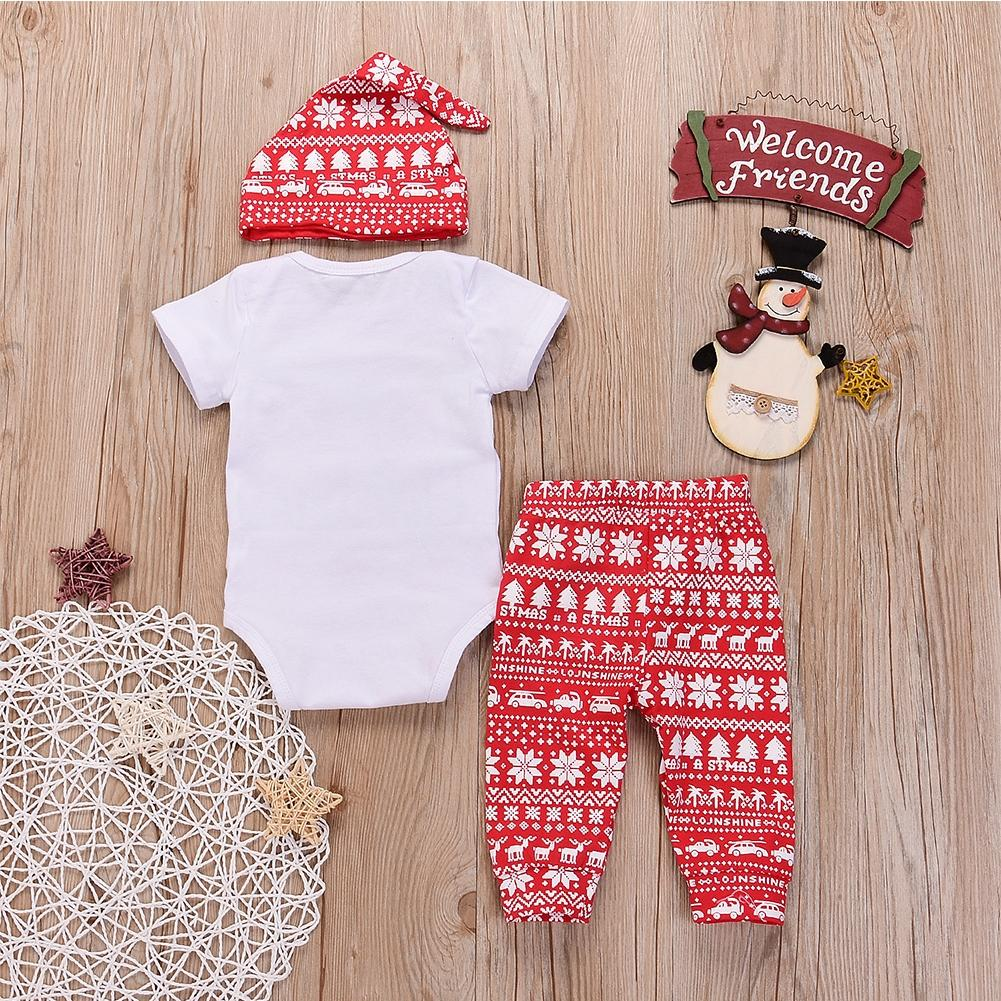 KIDLOVE 3Pcs/Set Baby Boys Girls My first Christmas 3pcs Set Short Sleeve Romper Snowflake Trousers Hat Suit Xmas Clothes ZK30
