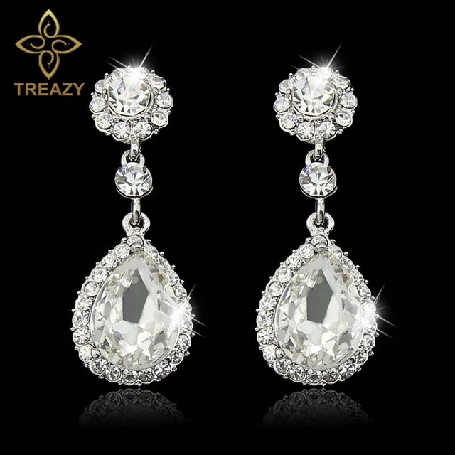 Treazy Fashion Wedding Jewelry Silver Plated Bridal Dangle Drop Earrings Rhinestone Crystal Teardrop For