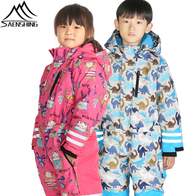 SAENSHING One Piece Ski Suit Kids New Winter Snow Snowboard Suits Set Waterproof Breathable Children Snowboarding Snow Suits 2016 new brand children snow runner self balance scooter snow bicycle for kids ski kits