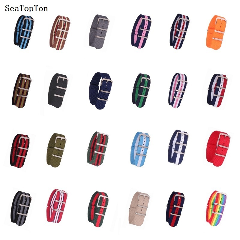 Buy 2 Get 10% OFF) 18mm 20mm 22mm 24mm Solid color Nylon Stripes Nato Woven Fiber watchband Watch Strap Wristwatch Band fabric(China)