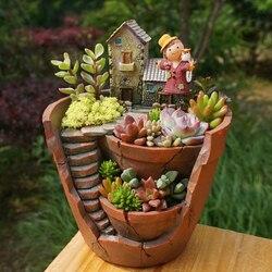 1pc Creative Resin Decorative Succulent Plant Pot for Fairy Garden Desktop Flower Pot Home Garden Decoration