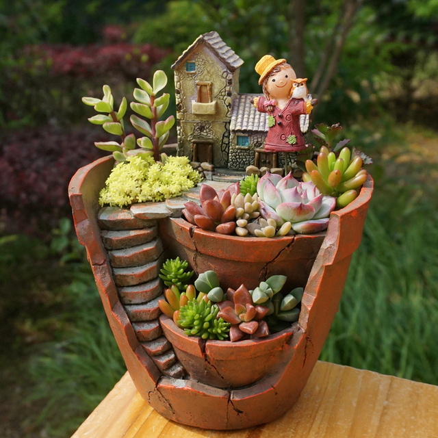 1pc Creative Resin Decorative Succulent Plant Pot For Fairy Garden Desktop Flower Home Decoration