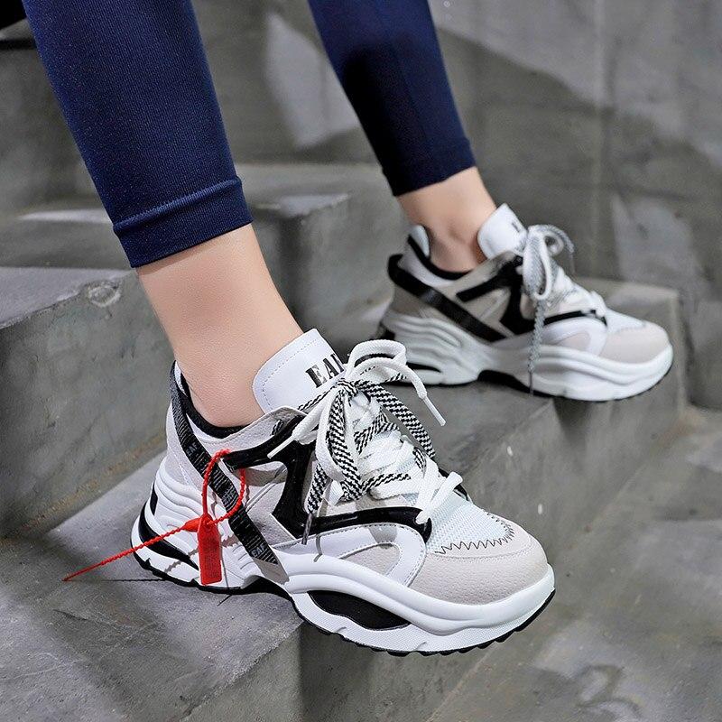 Stylish Women Running Shoes Increasing 6CM INS Ulzza Harajuku Sneakers Cushioning Height Platform Breathable Wave Sports Walking