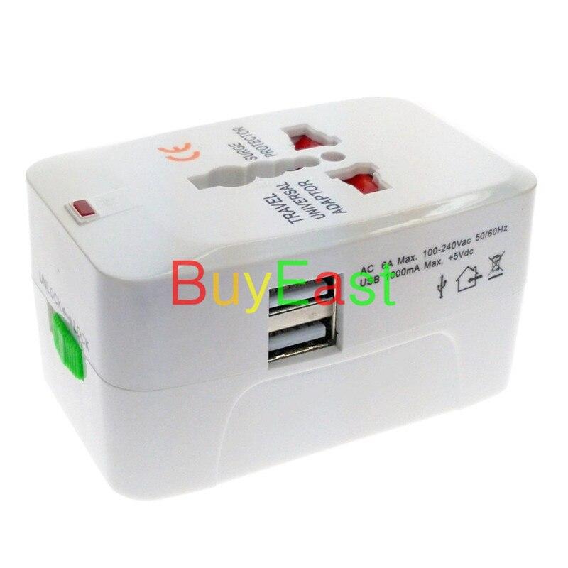 2 X двойной USB Зарядное устройство 5 В 1A универсальная путешествия переходник Выход conver AU/США/ЕС/ великобритания/Китай/Япония ..... во всем мире