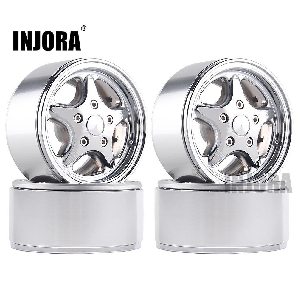 INJORA 4Pcs 1.9 Beadlock Metal Classic Wheel Rim For RC Rock Crawler Traxxas TRX4 Bronco Axial SCX10 90046 AX103007 D90