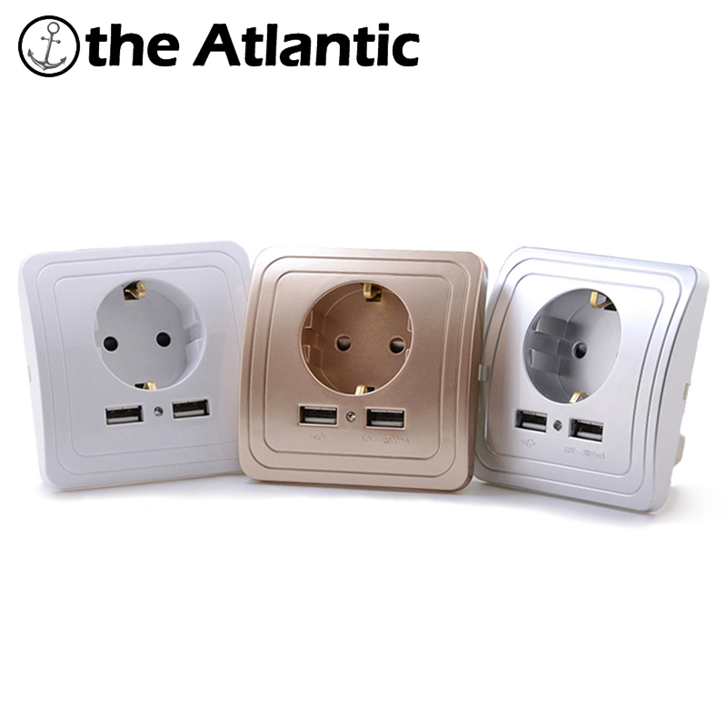 Wall Sockets Dual USB Port 2A Wall Charger Adapter EU Plug Socket Power Outlet Grounded Electric Wall Charger Outlet USB Plug