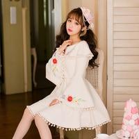 Princess Sweet Lolita White Dress Candy Rain Pattern Embroidery Design Purfle Boat Neck Pagoda Sleeve Japanese
