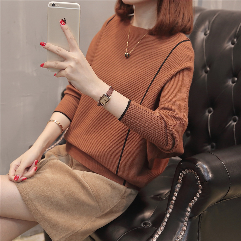 Women Loose Knitted Sweater Pullover Black Fashion Pull Ladies Pullovers Tops Knitwear 2019 Fall Pullover Luxury Female Pull