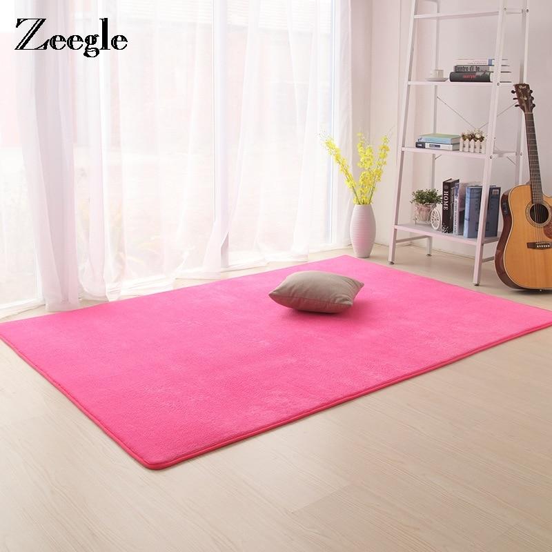 Zeegle Coral Fleece Solid Carpet For Living Room Home Large Size Rugs Anti-slip Child Room Rug Kids Bedroom Carpets Floor Mats