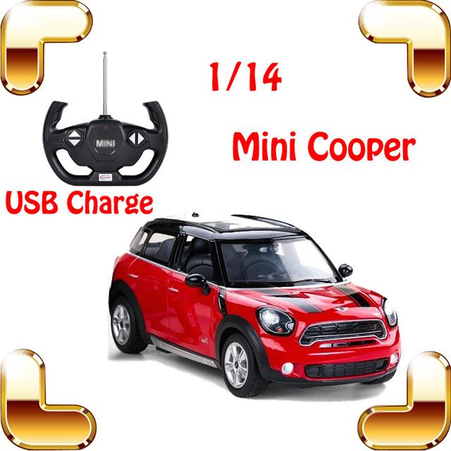 Regalo de Año nuevo Cooper 1/14 RC Coche Sedán de Carga USB Máquina de Juguetes de Control remoto Eléctrico Modelo de Carreras de Coches Del Vehículo LED carrera