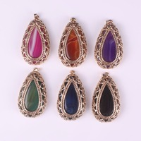 Luxury Design Natural Stone Purple Red Green Blue Agate Onyx Beads Pendant Fashion Jewelry Inlay Gold