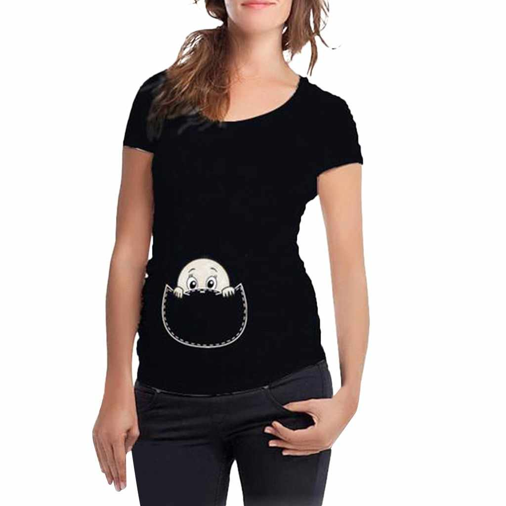 Maternity Clothes Women Maternity Short Sleeve Cute Print T-shirt Pregnant Cartoon Graphic Tops Ropa Premama Embarazadas Summer