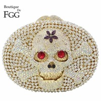 Hollow Out Skull Pirate Flag Women Clear Crystal Clutch Evening Bags Bridal Wedding Party Prom Metal