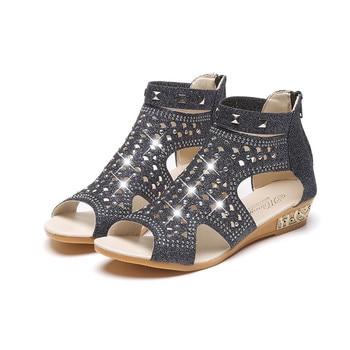 Cuñas De Talla Con Abierta Tobillo 2018 Cristal 36 Zapatos 40 Mujer Punta Bling Verano Botas Sandalias Sandalia VGqSUMpz