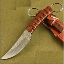 HUNTING KNIFE outdoor knife pattern steel knife Pure manual forging survival knife sharpknife collection Leather rope handle
