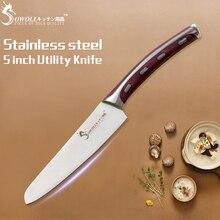 SOWOLL кухонный инструмент бесшовная Сварка 4CR14 кухонный нож из нержавеющей стали 5 дюймов антипригарный нож