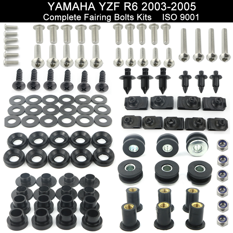 For Yamaha YZF R6 YZF-R6 2003 2004 2005 R6S 2006 2007 2008 2009 Full Fairing Bolts Kit Speed Nuts Screws Kit Stainless SteelFor Yamaha YZF R6 YZF-R6 2003 2004 2005 R6S 2006 2007 2008 2009 Full Fairing Bolts Kit Speed Nuts Screws Kit Stainless Steel