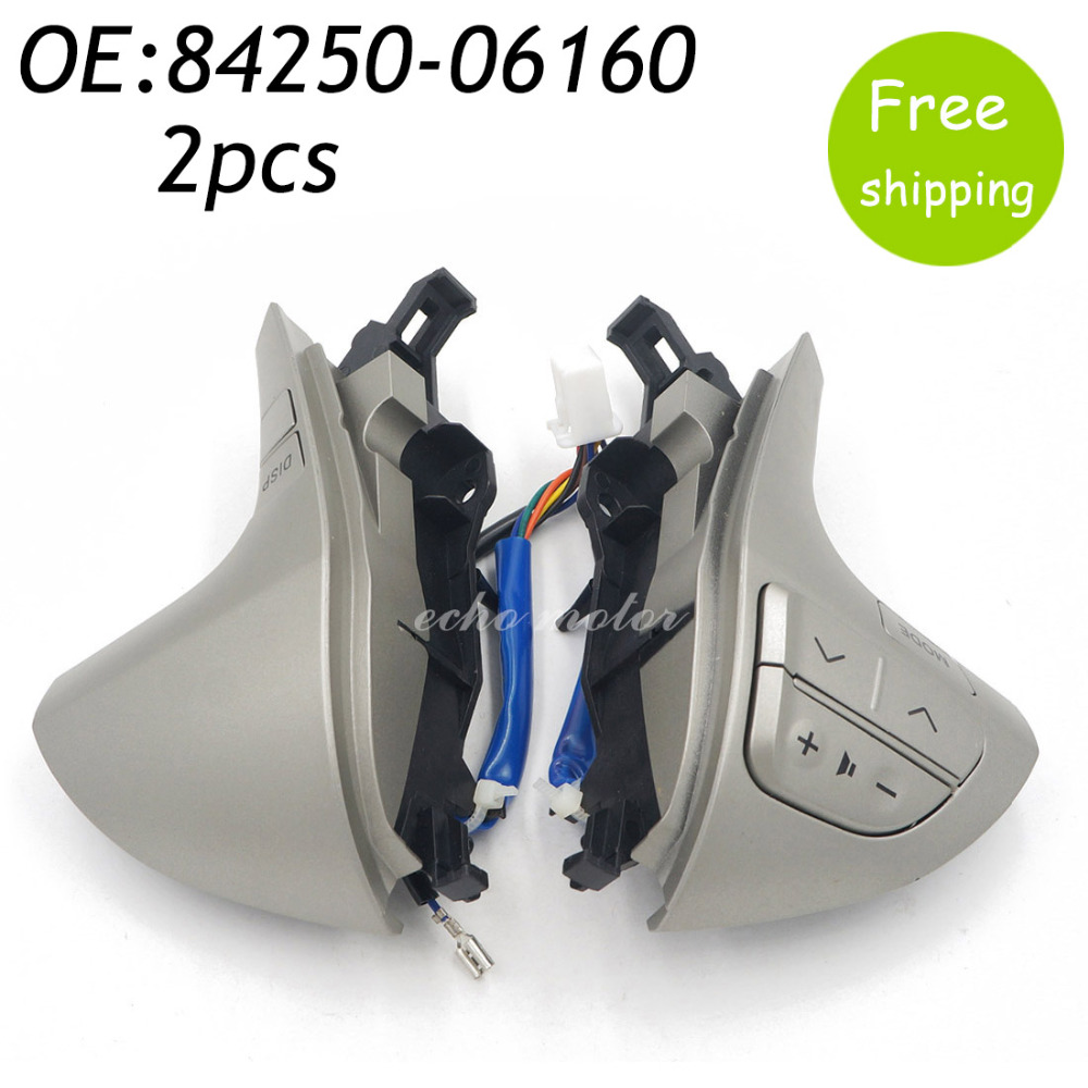 New 2pcs 84250-06160  8425006160 Steering Wheel Switch Controls Switch Assy, Steering Pad For Toyota Camry цена 2016