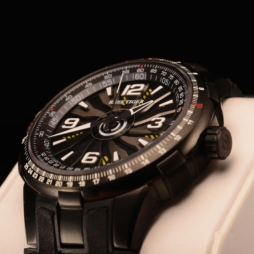 New Reef Tiger / RT Męskie sportowe automatyczne zegarki Black Steel - Męskie zegarki - Zdjęcie 3