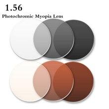 1.56 índice de visão única lente fotocromática asférica CR 39 prescrição miopia presbiopia óculos de olho lente anti radiação rs048