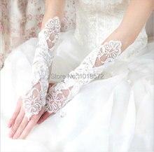 Горячая распродажа Новые Свадебные перчатки с кружевной аппликацией